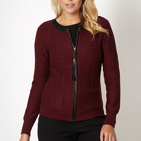 Principles by Ben de Lisi - Designer wine PU trim cardigan