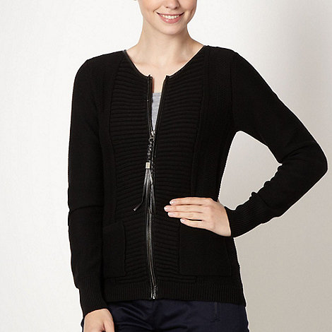 Principles by Ben de Lisi - Designer black ribbed knit cardigan