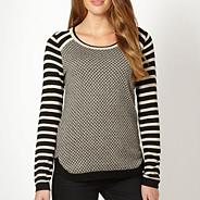 Petite black zig zagged and striped jumper