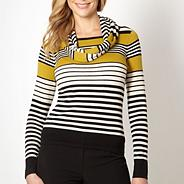 Petite olive striped jumper with snood