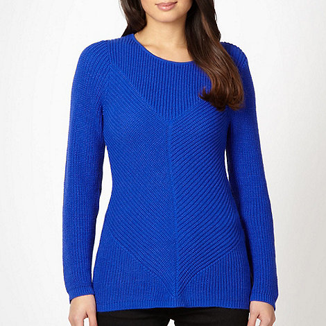 Principles Petite by Ben de Lisi - Petite designer royal blue ribbed jumper
