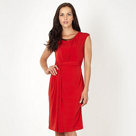 Principles by Ben de Lisi - Designer red neck trim jersey dress