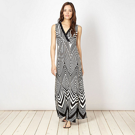 Principles Petite by Ben de Lisi - Petite designer black striped maxi dress