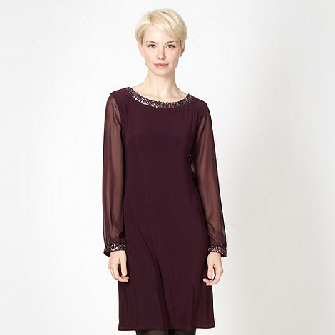 Principles by Ben de Lisi - Designer dark purple embellished jersey dress