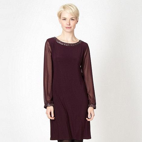 Principles by Ben de Lisi - Designer dark purple embellished jersey dress