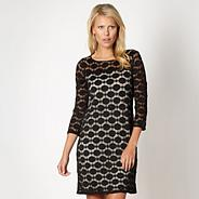 Petite designer black spotted lace tunic dress