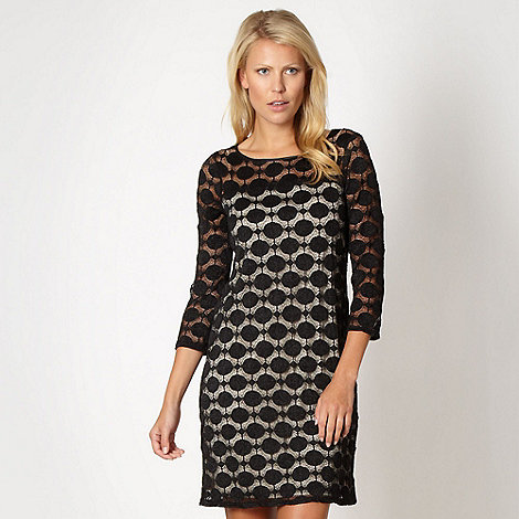 Principles Petite by Ben de Lisi - Petite designer black spotted lace tunic dress