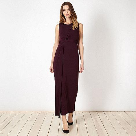 Principles Petite by Ben de Lisi - Petite designer dark purple necklace trim maxi dress