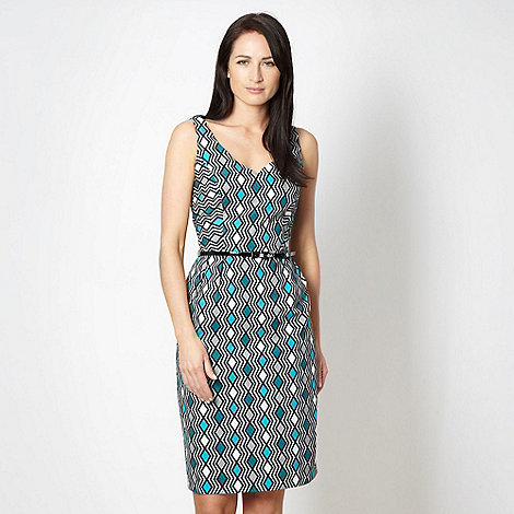 Principles by Ben de Lisi - Designer turquoise zig zag belted cocktail dress