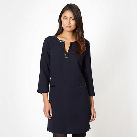 Principles by Ben de Lisi - Designer navy faux leather trimmed tunic dress