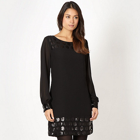 Principles by Ben de Lisi - Designer black chiffon sequin dress