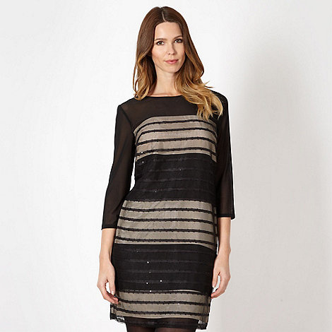 Principles by Ben de Lisi - Designer black striped mesh dress