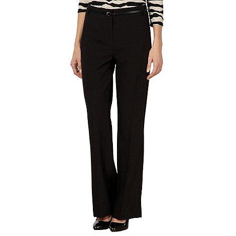 Principles Petite by Ben de Lisi - Petite designer black bootcut belted trousers