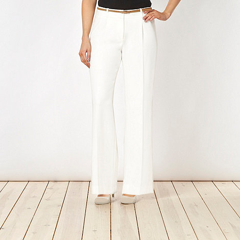 Principles by Ben de Lisi - Designer ivory wide leg belted trousers