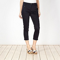 Principles by Ben de Lisi - Designer navy cotton sateen cropped trousers