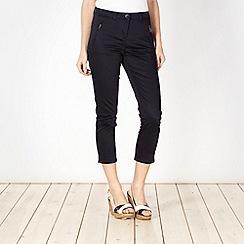 Principles by Ben de Lisi - Designer navy cotton sateen cropped trousers