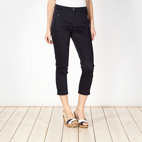 Principles Petite by Ben de Lisi - Petite navy cotton sateen cropped trousers