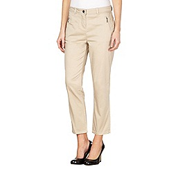 Principles Petite by Ben de Lisi - Petite designer natural cotton sateen cropped trousers