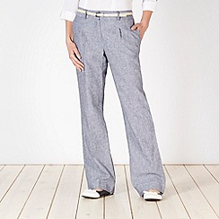 Principles Petite by Ben de Lisi - Petite Designer navy fine striped belted trousers