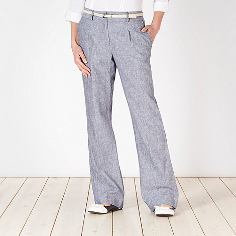 Principles by Ben de Lisi - Designer navy fine striped belted trousers