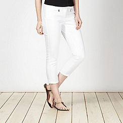 Principles by Ben de Lisi - Designer white twill cropped jeans