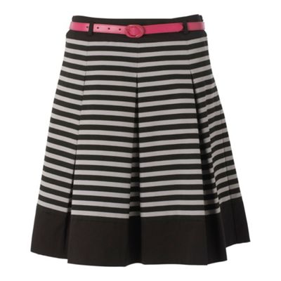 Principles by Ben de Lisi Grey stripe pattern mid-length skirt product image
