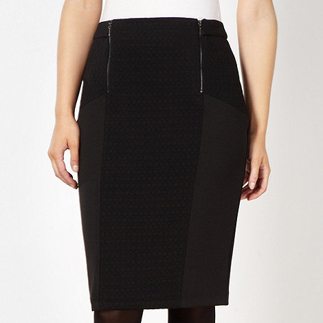 Principles by Ben de Lisi - Designer black textured panel skirt