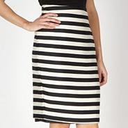 Designer black striped pencil skirt