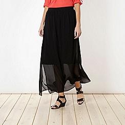 Principles Petite by Ben de Lisi - Petite designer black split maxi skirt
