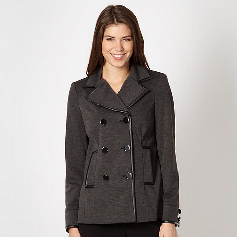 Principles Petite by Ben de Lisi - Petite designer grey textured double breast coat
