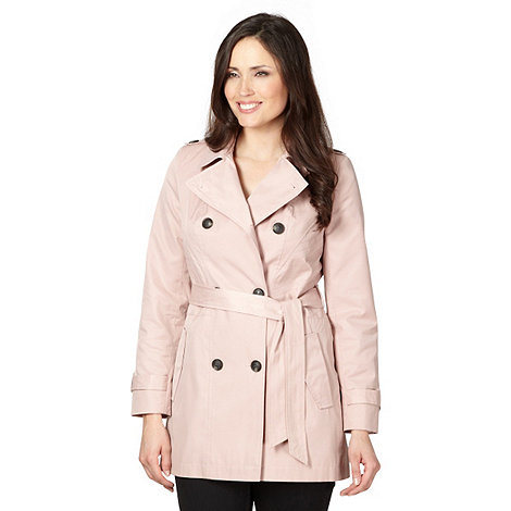 Principles by Ben de Lisi - Designer pale pink stitched biker mac coat