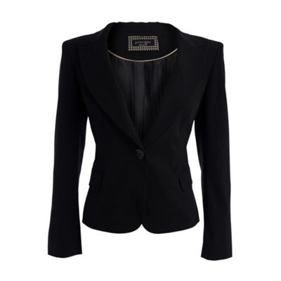 Black single button suit jacket