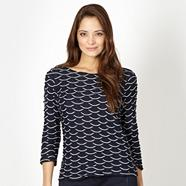 Petite designer navy textured wave top
