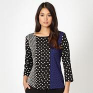Designer royal blue spotted block print top