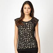 Designer black burnout shell top