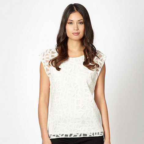 Principles by Ben de Lisi - Designer cream lattice cut out top