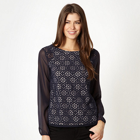 Principles by Ben de Lisi - Designer navy daisy burnout shell top