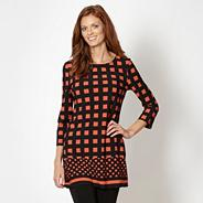 Designer black square print tunic