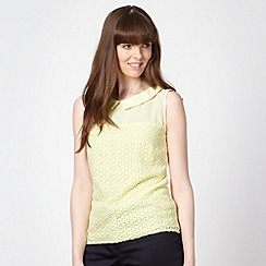 Principles by Ben de Lisi - Designer light yellow lace front shell top