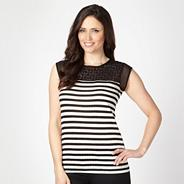 Designer black lace striped top
