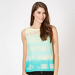 Principles Petite by Ben de Lisi - Petite designer green ombre palm burnout top