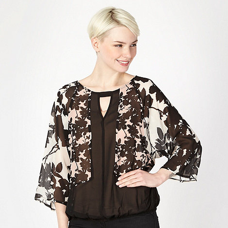 Principles by Ben de Lisi - Designer black shadow flower blouson top