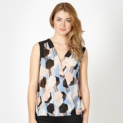 Principles by Ben de Lisi - Blue hexagon print blouson top