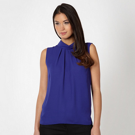 Principles by Ben de Lisi - Designer royal blue ruched chiffon top