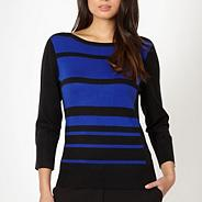 Petite designer royal blue block striped jumper