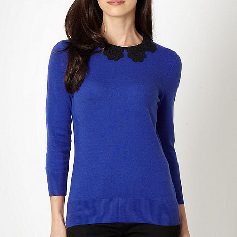 Principles by Ben de Lisi - Designer royal blue lace collar jumper