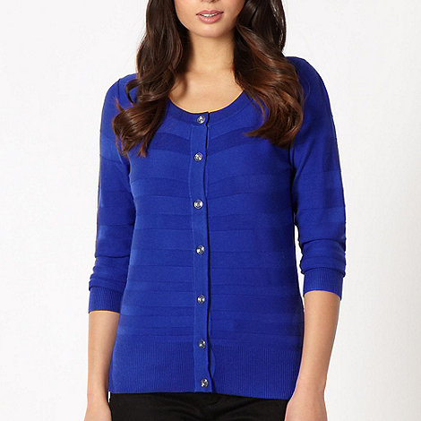 Principles by Ben de Lisi - Designer royal blue textured striped cardigan
