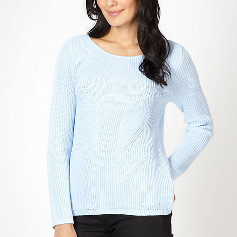 Principles by Ben de Lisi - Designer mid blue stitch detail chunky jumper