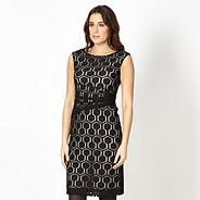 Petite designer black hexagon dress