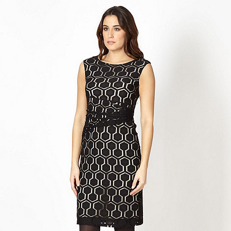 Principles Petite by Ben de Lisi - Petite designer black hexagon dress